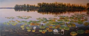 Vandens lelijos (Water Lilies). 170x70 cm. Aliejus/drobė (Oil on canvas). Parduotas (Sold)